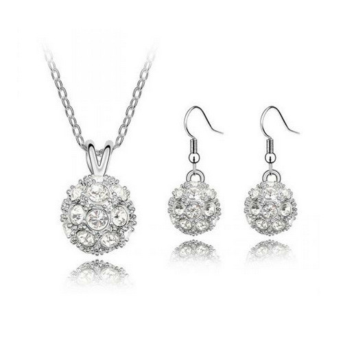 Crystal Accented Disco Balls Necklace and Earring Jewelry Set