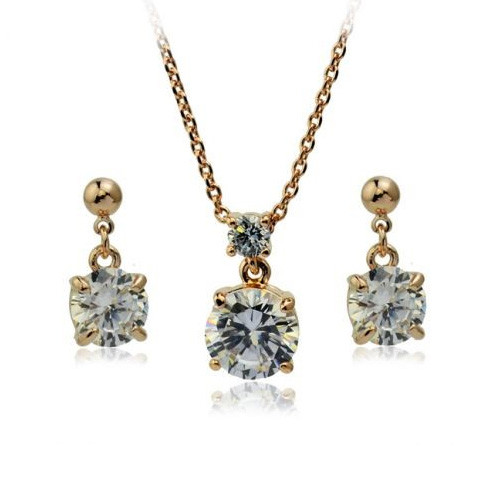Gold Plated Stylish Double Clear Crystal Accessory Necklace and Earring Jewelry Set