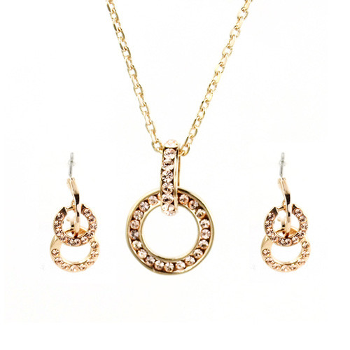 Gold Plated Crystal Intertwined Loops Necklace and Earring Jewelry Set