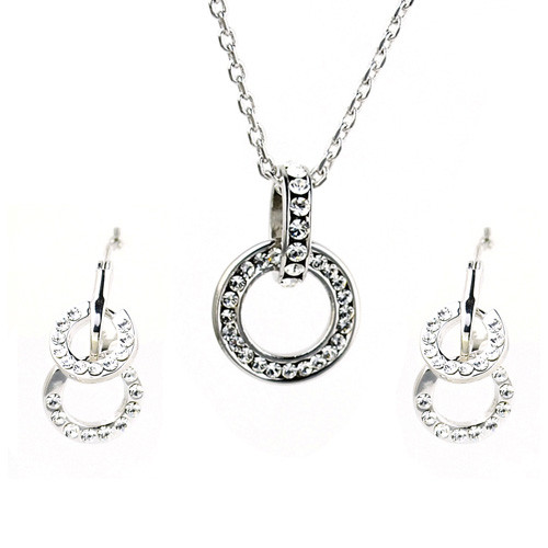 White Gold Plated Crystal Intertwined Loops Necklace and Earring Jewelry Set