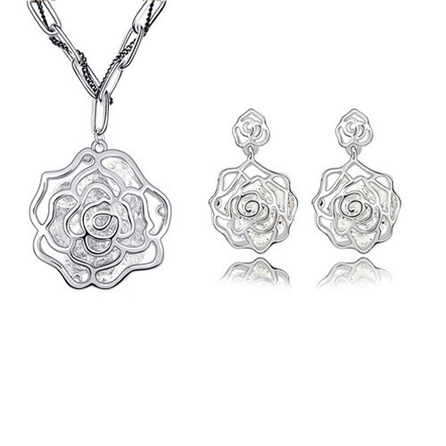 White Gold Plated Large Rose with Crystal Core Necklace and Earring Jewelry Set