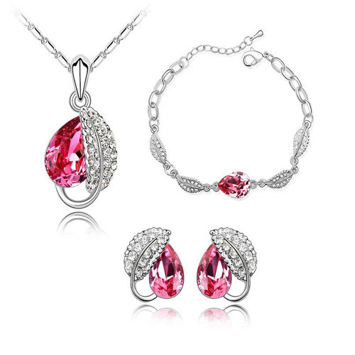 White Gold Plated Pink Crystal Leaf Pear-drops Necklace,Braclet and Earring Jewelry Set