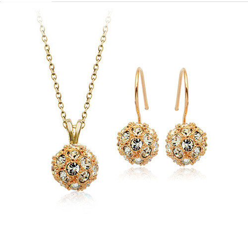 18K Gold Plated Crystal Accented Disco Balls Necklace and Earring Jewelry Set