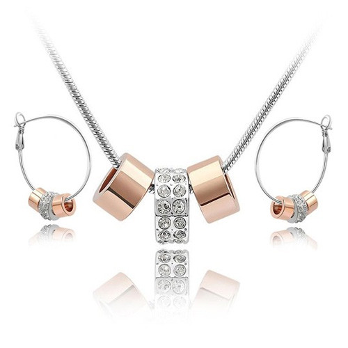 18K White Gold Plated Two Tone Gold Accented Hoop Necklace and Earring Jewelry Set