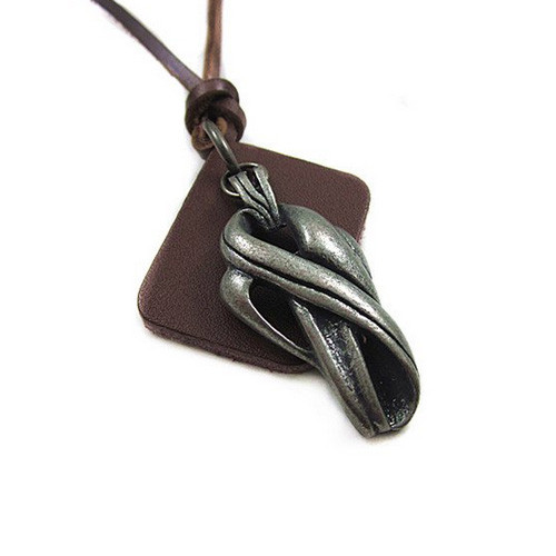 Dark Brown Leather Adjustable Necklace with Chrome Infinity Pendant
