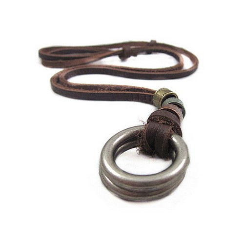 Genuine Brown Leather Adjustable Necklace with Chrome Rings and Round Beads