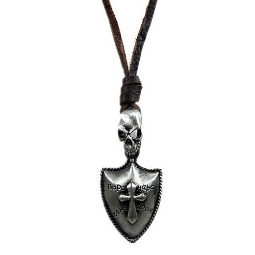 Dark Brown Leather Adjustable Necklace with Brushed Chrome Skull and Shield Pendant
