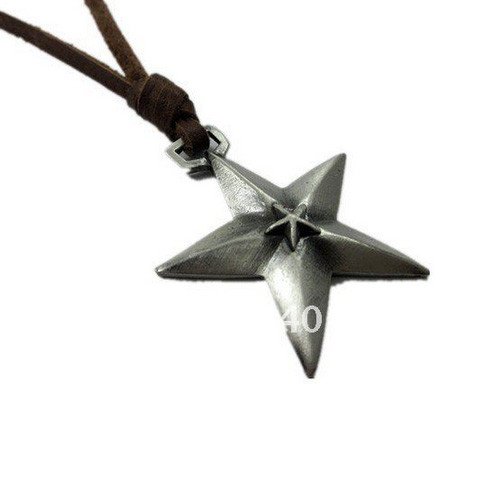 Light Brown Leather Adjustable Necklace with Brushed Chrome Star Pendant