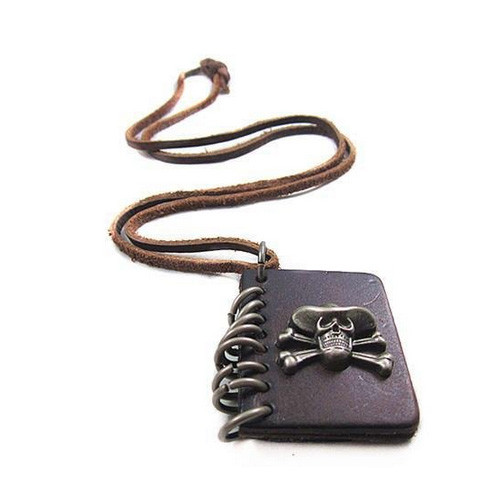 Dark Brown Leather Adjustable Necklace with Leather Book Pendant and Chrome Accents