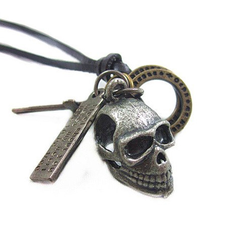 Dark Brown Leather Adjustable Necklace with Chrome Skull Pendant and Multiple Charms