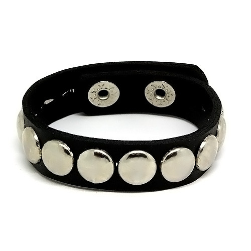 Black Leather Adjustable Studded Bracelet