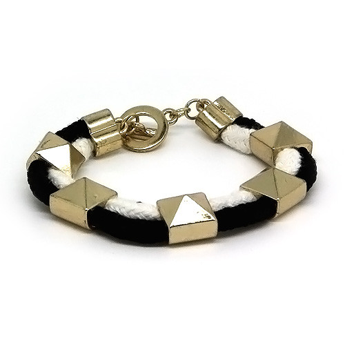 Black and White Studded Rope Youth Bracelet