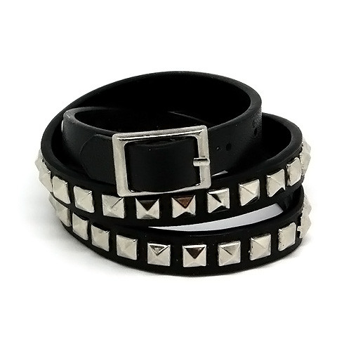 Black Skinny Studded Leather Wrap Around Adjustable Bracelet with Belt Buckle Closure