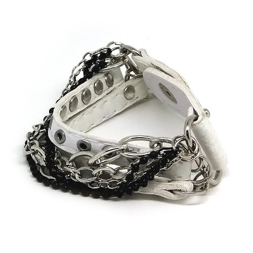 White Leather Layered Chain Snap-on Bracelet