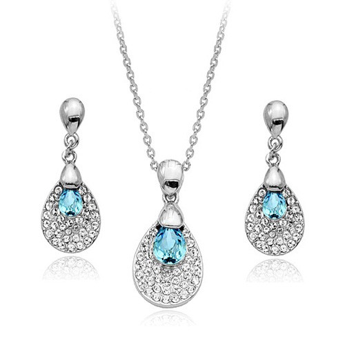 Necklace and Earring Jewelry Set, Light Blue Crystal Teardrop