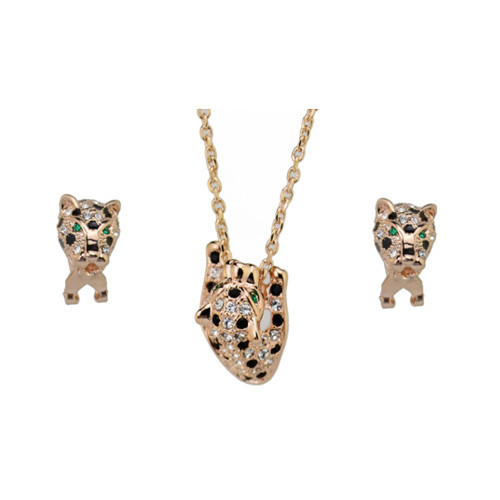 18K Gold Plated Crystal Accented Jaguars