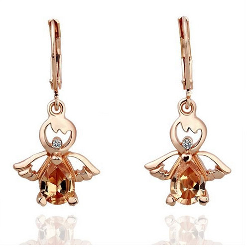 18K Gold Plated Guardian Angel Earrings with Stunning Crystal Accents