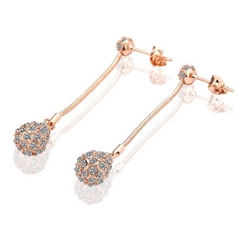 18K Rose Gold Plated Dangle Earrings with Stunning Crystal Accents