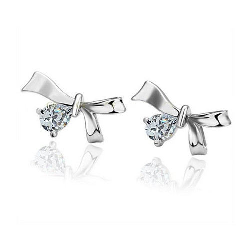 18K White Gold Plated Earrings with Adorned Bow