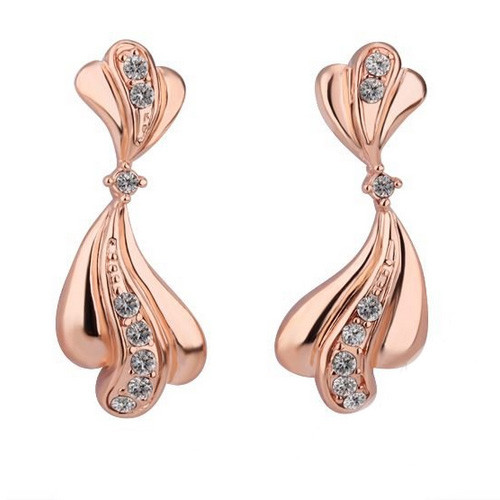 18K Rose Gold Plated Earrings with Dangling Crystal Accented Bow