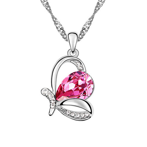 Royal Pink and Clear Crystal Crown Pendant Necklace, 18k White Gold Plated