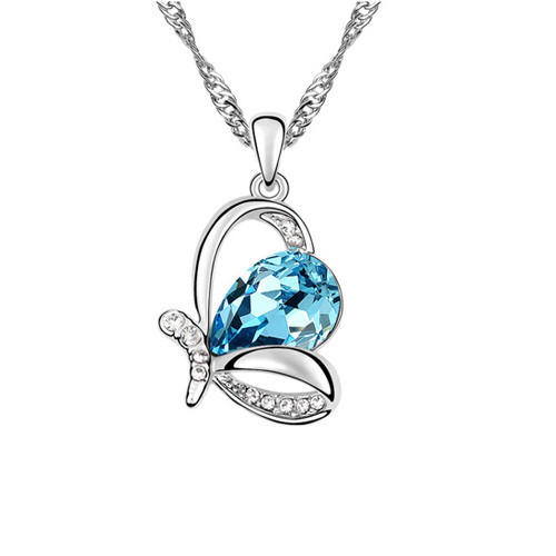 Royal Aqua and Clear Crystal Crown Pendant Necklace, 18k White Gold Plated