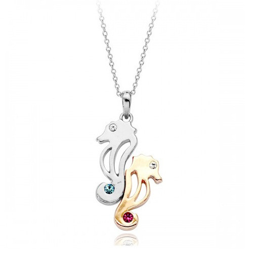 Two Tone Seahorse Necklace with accenting Blue and Pink Stones, 18k White Gold Plated