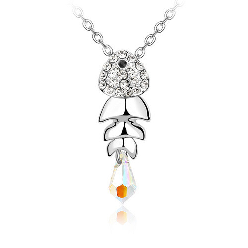 Lovely 18K White Gold Plated Crystal Studded Fish Pendant with Free 18in Chain