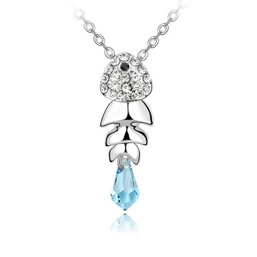 Lovely 18K White Gold Plated Crystal Studded Fish Pendant with Light Blue Crystal Tail, Free 18in Chain