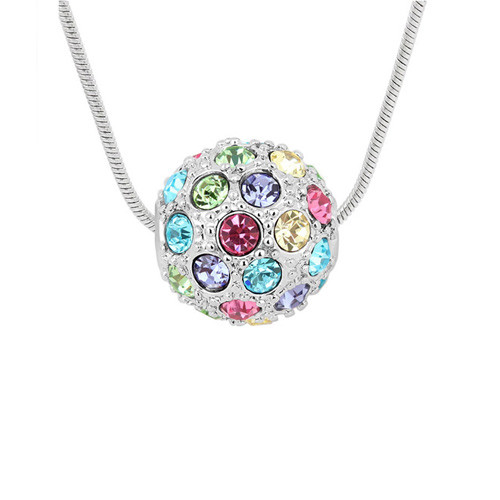 Lavish 18k White Gold Plated Multi-Colored Crystal Sphere Pendant Necklace