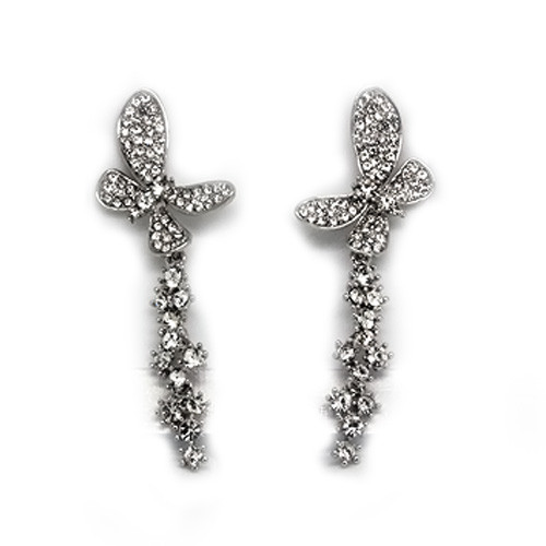 18K White Gold Plated Beautiful Crystal Embellished Butterfly Push Back Earrings