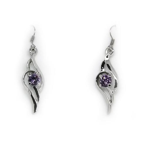 Lovely 18K White Gold Plated Dangling Accented Angel Wing Earrings