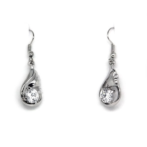 18K White Gold Plated Crystal Accented Angel Wing Earrings