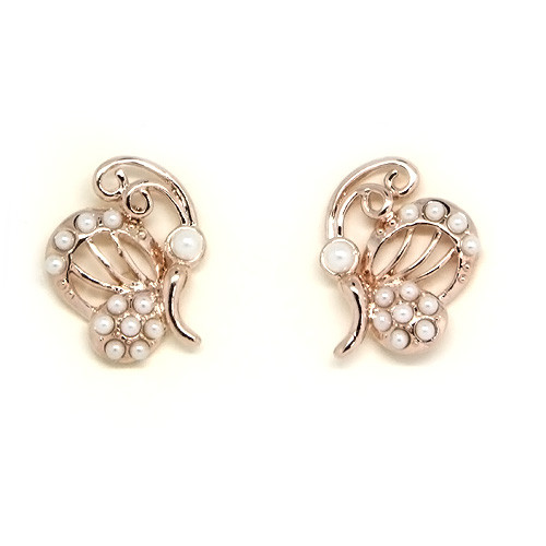 18K Gold Plated Pearl Accented Butterfly Stud Earrings
