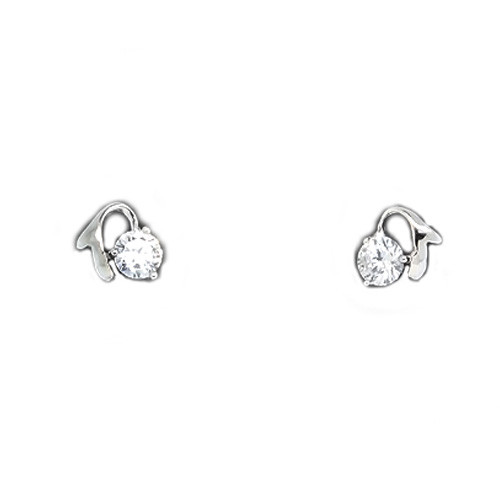 925 Sterling Silver CZ Stone with Curving Accent Stud Earrings