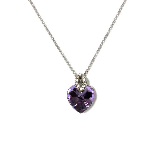 18K White Gold Plated Light Purple Crystal Heart Pendant with CZ Stones Accenting, Womens Necklace with Free 18 Inch Chain