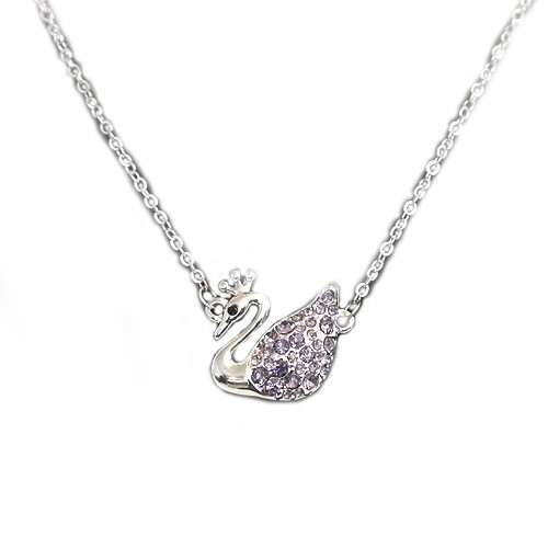 """18K Gold Plated Purple Crystal Swan Pendant Necklace, Free 18"""" Chain"""