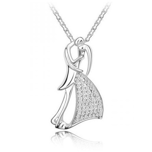Top Value Jewelry- Very Romantic Couple Pendant Necklace for Women with Clear Crystal Accents, 18k Gold Plated, Free 18 Inch Chain