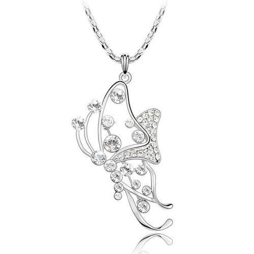 Beautiful Butterfly Crystal Pendant, Women Sweater Necklace FREE  Chain