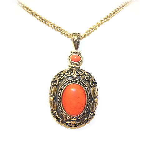 Beautiful Antique Coral Stone Pendant Sweater Necklace for Women