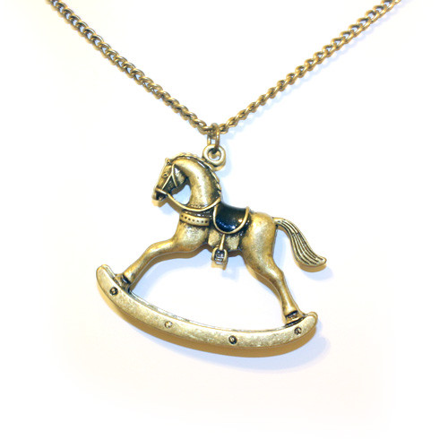 Beautiful Antique Rocking Horse Pendant Sweater Necklace for Women