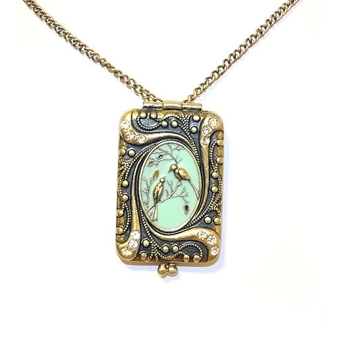 Beautiful Antique Tiffany Blue Bird Locket Pendant Sweater Necklace for Women