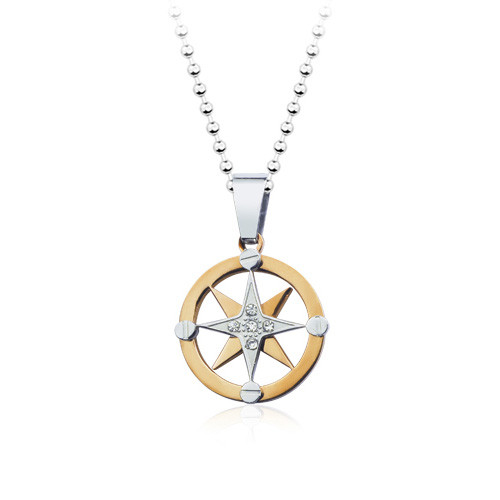 Stainless Steel Star Steering Wheel Pendant Necklace, High End Necklace