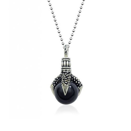 Stainless Steel Eagle Claw Holding Black Ball Pendant Necklace, Gothic Design