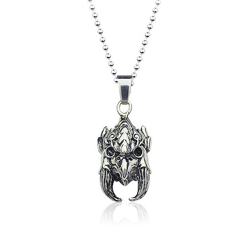 Stainless Steel Gothic Eagle Head Pendant Necklace