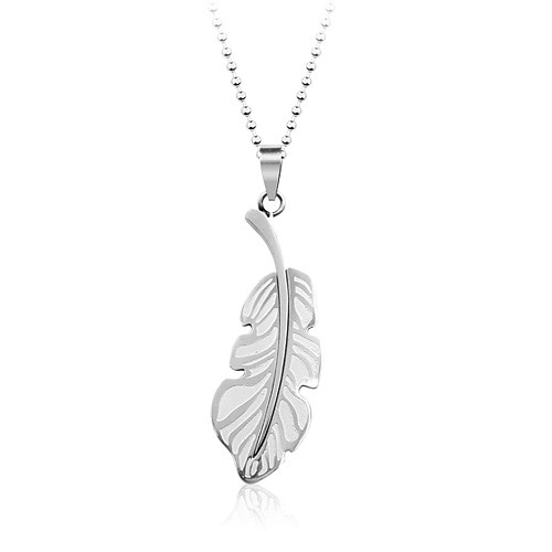 Stainless Steel Feather Pendant Necklace, 19 Inch Chain