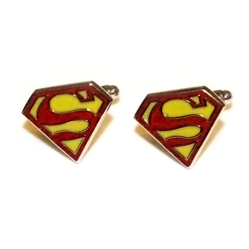 Red and Gold Superman Stainless Steel Cuff Links