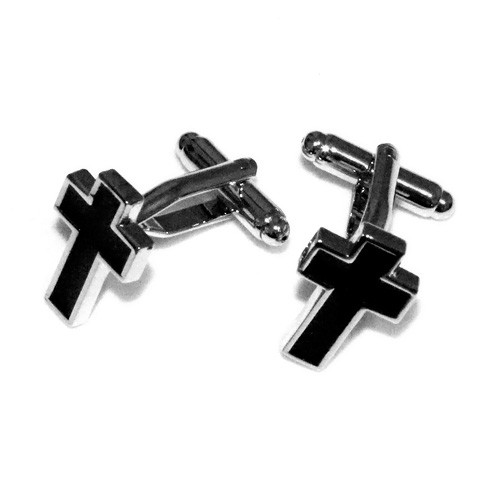 Black Cross Stainless Steel Cuff Links