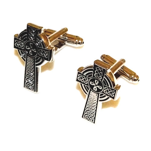 Black Embossed Celtic Cross Stainless Steel Cuff Links