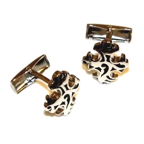 Black Decorative Cross Stainless Steel Cuff Links